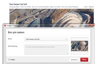 Selecteer tenslotte het Pinterest bord waarop je de Facebook afbeelding wilt pinnen