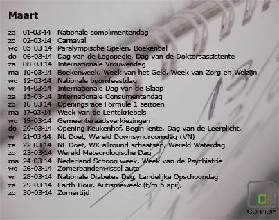 Content kalender met gebeurtenissen in maart 2014