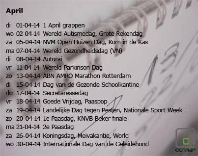 Content kalender april 2014