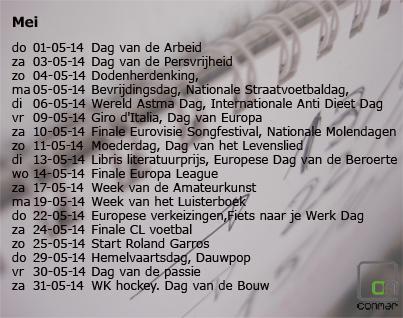 Kalender met bijzondere data in mei 2014