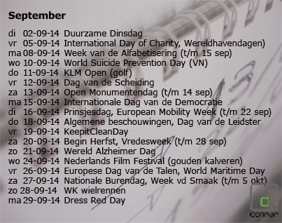 Overzicht van speciale data in september 2014 waarop je kunt inhaken met berichten op je website en social media.