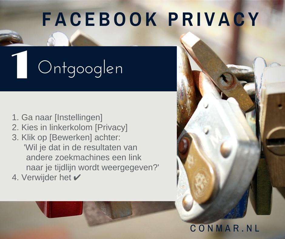 Facebook privacy - Wil je liever niet dat jouw persoonlijke Facebook profiel wordt gevonden via Google of andere zoekmachines?