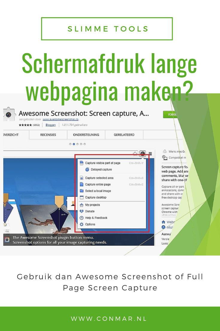 Maak gebruik van een van deze twee chrome extensies om snel een schermafdruk van een lange webpagina te maken