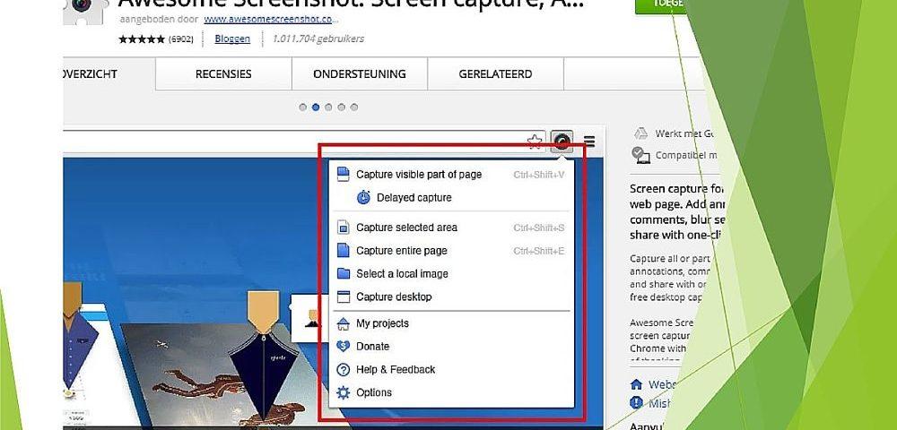 Met de gratis Chrome extensie Awesome Screenshot maak je snel een schermafdruk van lange webpagina