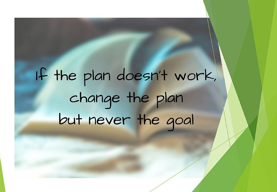 If the plan doesn't work change the plan but never the goal. Artikel het aanpassen van het plan om doelstelling te bereiken